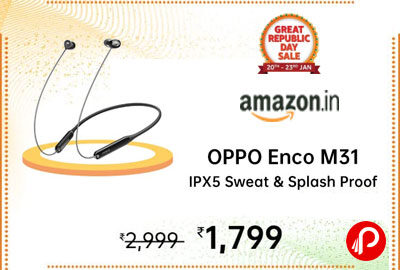 OPPO ENCO M31 Wireless in-Ear Bluetooth Earphones with Mic (Green) @ 1,799 - Amazon India