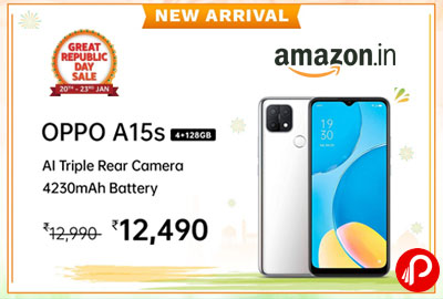 OPPO A15s (Dynamic Black, 4GB RAM, 64GB Storage) @ 12490 - Amazon India