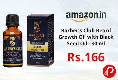 Barber's Club Beard Growth Oil with Black Seed Oil - 30 ml @ 166 - Amazon India
