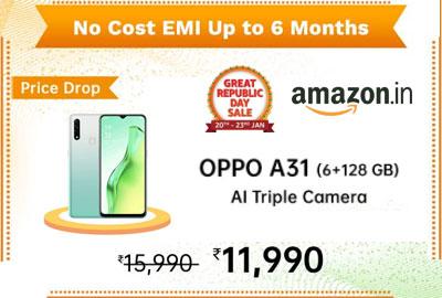 Oppo A31 (Mystery Black, 6GB RAM, 128GB Storage) @ 11990 - Amazon India