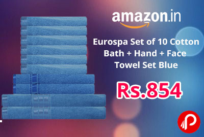 Eurospa Set of 10 Cotton Bath + Hand + Face Towel Set Blue @ 854 - Amazon India