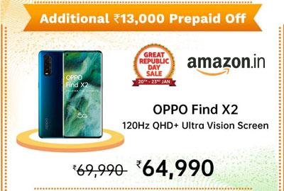 OPPO Find X2 (Ocean, 12GB RAM, 256GB Storage) @ 64,990 - Amazon India
