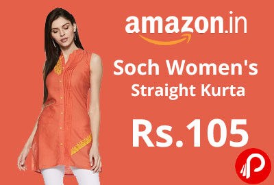 Soch Women's Straight Kurta @ 105 - Amazon India