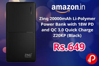 Zinq 20000mAh Li-Polymer Power Bank @ 649 - Amazon India