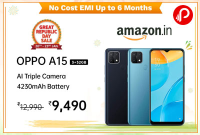 OPPO A15 (Mystery Blue, 3GB RAM, 32GB Storage) @ 9,990 - Amazon India