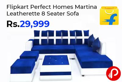 Flipkart Perfect Homes Martina Leatherette 8 Seater Sofa @ 29,999 - Flipkart
