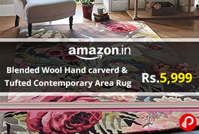 Blended Wool Hand carverd & Tufted Contemporary Area Rug @ 5,999 - Amazon India