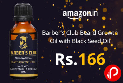 Barber's Club Beard Growth Oil with Black Seed Oil - 30 ml at 166 - Amazon India