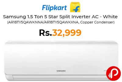 Samsung 1.5 Ton 5 Star Split Inverter AC - White @ 32,999 - Flipkart