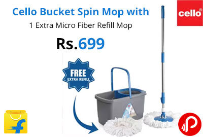 Cello Bucket Spin Mop with 1 Extra Micro Fiber Refill Mop @ 699 - Flipkart