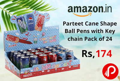 Parteet Cane Shape Ball Pens with Key chain