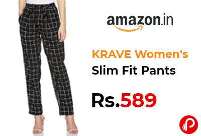 KRAVE Women's Slim Fit Pants @ 589 - Amazon India