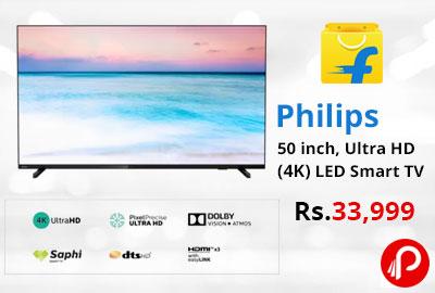 Philips 50 inch Ultra HD (4K) LED Smart TV @ 33,999 - Flipkart