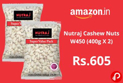 Nutraj Cashew Nuts W450 (400g X 2) @ 605 - Amazon India