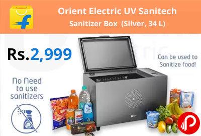 Orient Electric UV Sanitech Sanitizer Box (Silver, 34 L) @ 2,999 - Flipkart