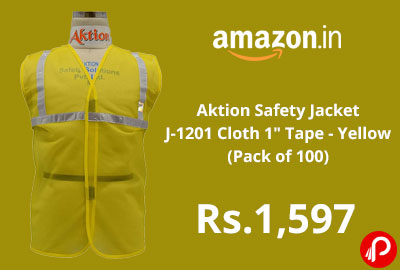 "Aktion Safety Jacket J-1201 Cloth 1"" Tape - Yellow (Pack of 100) @ 1597 - Amazon India"