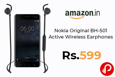 Nokia Original BH-501 Active Wireless Earphones (Black) @ 599 - Amazon India