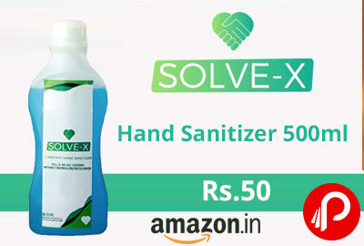 Solve-X Hand Sanitizer 500ml @ 50 - Amazon India
