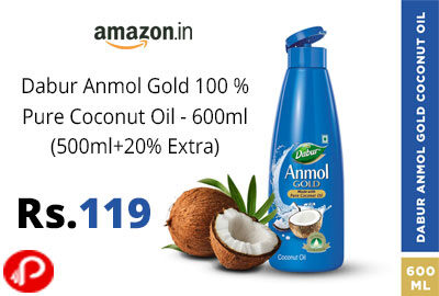 Dabur Anmol Gold Coconut Oil 600ml @ 119 - Amazon India