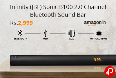 Infinity (JBL) Sonic B100 2.0 Channel Bluetooth Sound Bar @ 2,999 - Amazon India