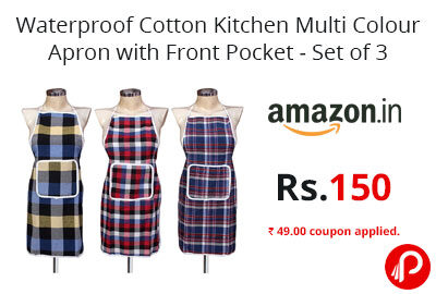 Kitchen Multi Colour Apron with Front Pocket - Set of 3 @ 150 - Amazon India