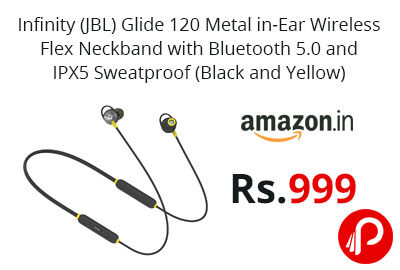 Infinity (JBL) Glide 120 Metal in-Ear Wireless Flex Neckband @ 999 - Amazon India