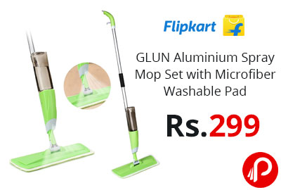 GLUN Aluminium Spray Mop Set with Microfiber Washable Pad @ 299 - Amazon India