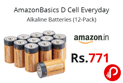 AmazonBasics D Cell Everyday Alkaline Batteries (12-Pack) @ 771 - Amazon India