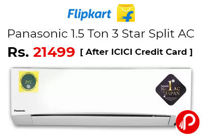 Panasonic 1.5 Ton 3 Star Split AC @ 21499 - Flipkart