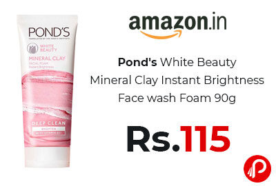 Pond's White Beauty Mineral Clay Instant Brightness Face wash Foam 90g @ 115 - Amazon India