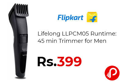 Lifelong LLPCM05 Runtime: 45 min Trimmer for Men @ 399 - Flipkart