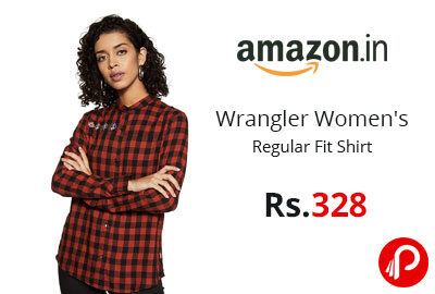 Wrangler Women's Regular Fit Shirt @ 328 - Amazon India