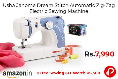 Usha Janome Dream Stitch Automatic Zig-Zag Electric Sewing Machine @ 7,990 - Amazon India
