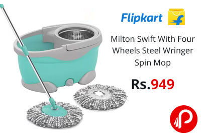 Milton Swift With Four Wheels Steel Wringer Spin Mop @ 949 - Flipkart