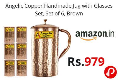 Angelic Copper Handmade Jug with Glasses Set @ 979 - Amazon India