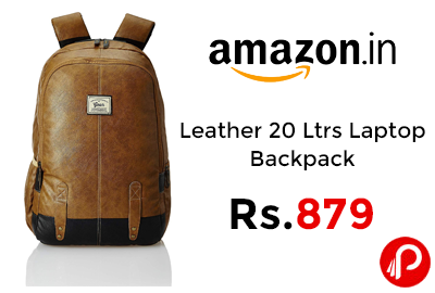 Leather 20 Ltrs Tan Laptop Backpack @ 879 - Amazon India
