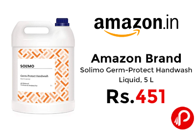 Solimo Germ-Protect Handwash Liquid, 5 L @ 451 - Amazon India