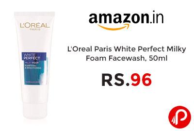 L'Oreal Paris White Perfect Milky Foam Facewash, 50ml @ 96 - Amazon India