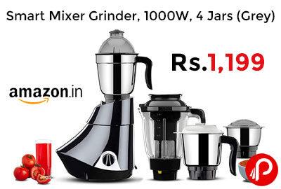 Smart Mixer Grinder, 1000W, 4 Jars (Grey) @ 1199 - Amazon India