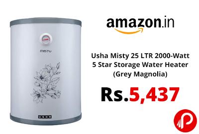 Usha Misty 25 LTR 2000-Watt 5 Star Storage Water Heater @ 5,437 - Amazon India