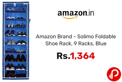 Foldable Shoe Rack, 9 Racks, Blue @ 1364 - Amazon India