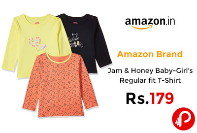 Jam & Honey Baby-Girl's Regular fit T-Shirt @ 179 - Amazon India