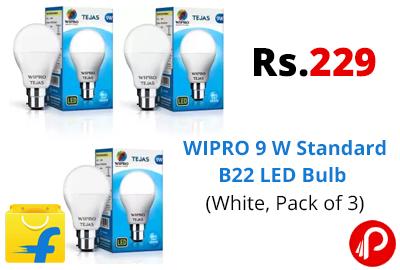 WIPRO 9 W Standard B22 LED Bulb (Pack of 3) @ 229 - Flipkart