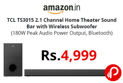 TCL TS3015 2.1 Channel Home Theater Sound Bar with Wireless Subwoofer @ 4,999 - Amazon India
