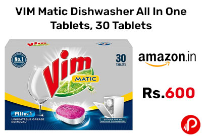 VIM Matic Dishwasher All In One Tablets, 30 Tablets @ 600 - Amazon India