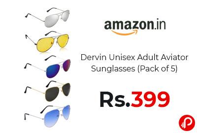 Aviator Sunglasses (Pack of 5) @ 399 - Amazon India
