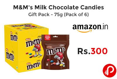 M&M's Milk Chocolate Candies Gift Pack - 75g (Pack of 6) @ 300 - Amazon India
