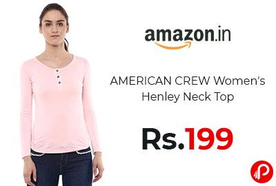 Women's Henley Neck Top @ 199 - Amazon India