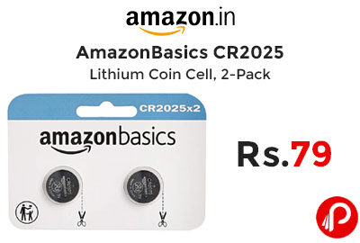 AmazonBasics CR2025 Lithium Coin Cell, 2-Pack @ 79 - Amazon India