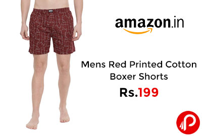 Mens Red Printed Cotton Boxer Shorts @ 199 - Amazon India